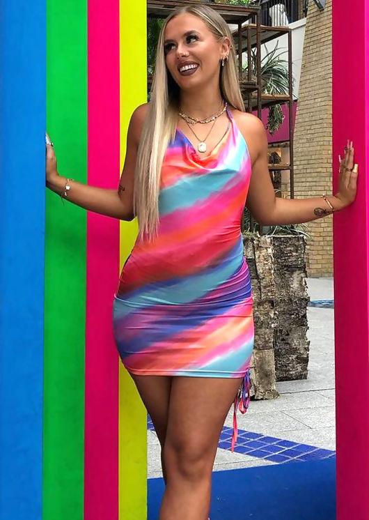 Halterneck Contrast Stripe Patterned Side Ruched Mini Dress Multi