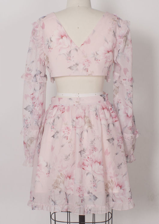 Asymmetrical Puff Sleeved Floral Print Frilled Hem Mini Dress Pink