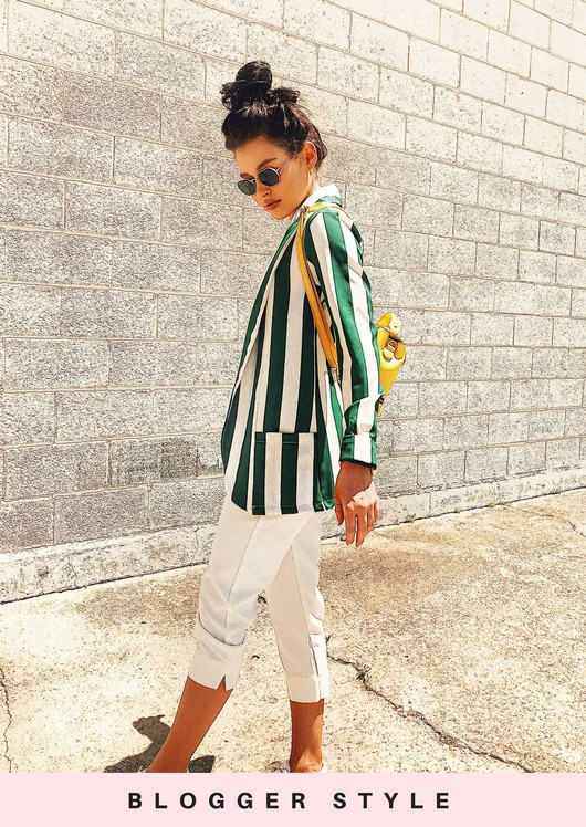 Bold Stripe Blazer Jacket Green