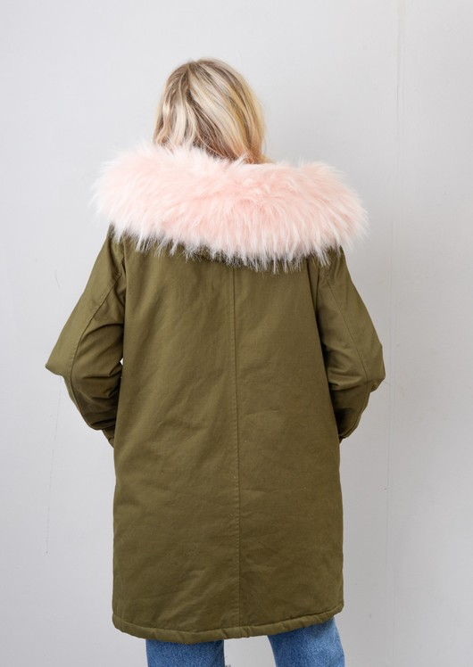 Baby Pink Faux Fur Hooded Parka Coat Khaki Green