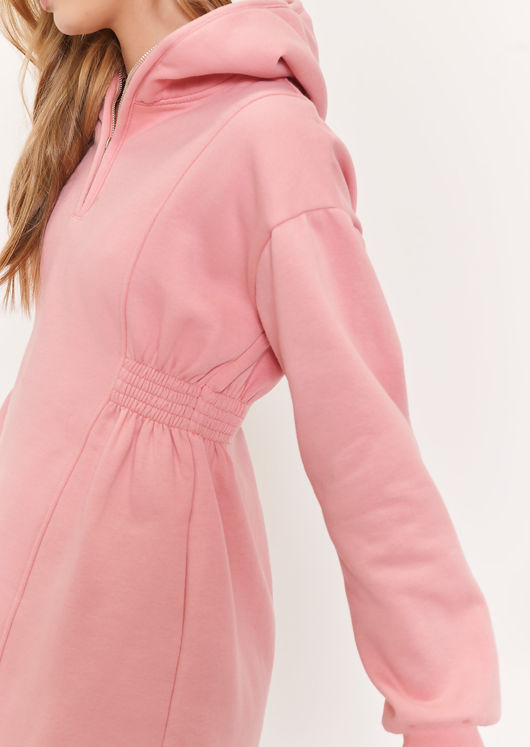 Zip Fronted Side Shirred Mini Sweater Hoodie Dress Pink