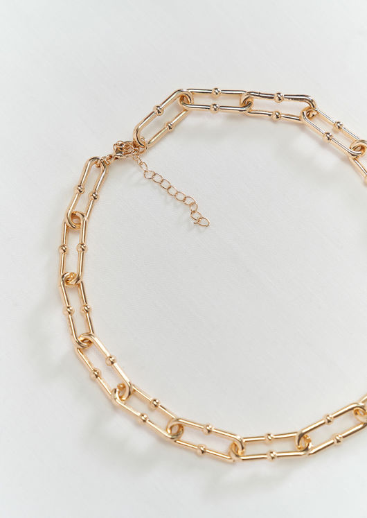 Oval Plated Fine Link Up Chain Clip On Necklace Gold