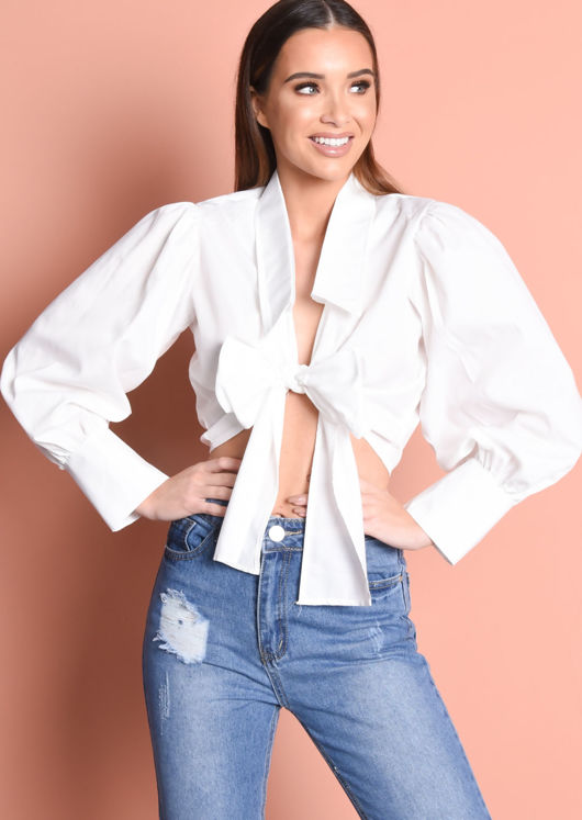 Balloon Sleeve Tie Front Crop Shirt Top White
