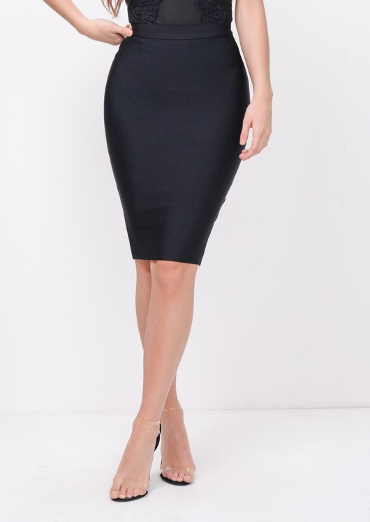 Bandage Bodycon Midi Skirt Black