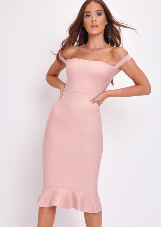 Bandage Frill Hem Bodycon Dress Pink