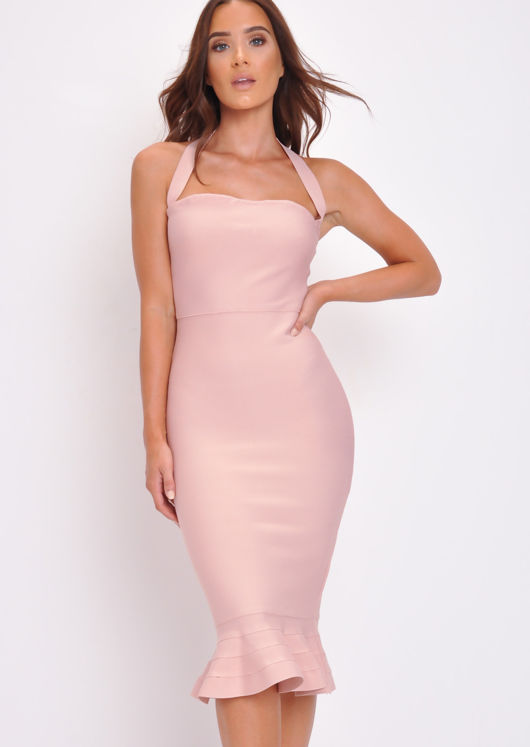 Bandage Frill Hem Bodycon Dress Pink
