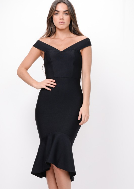 Bandage Frill Hem Midi Dress Black