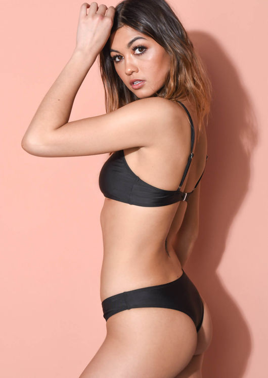 Bandeau Bikini Top and Bottom Set Black