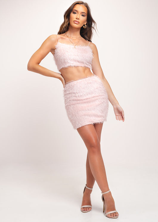Bandeau Fluffy Strap Cami Crop Top and Skirt Co Ord Set Pink