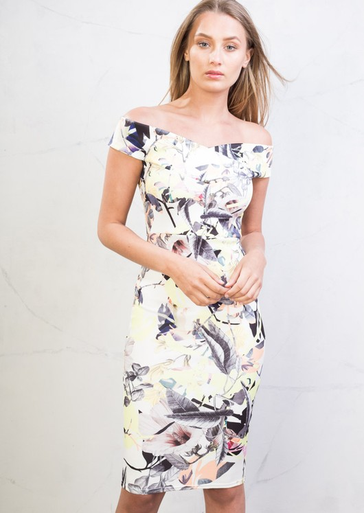 Bardot Bodycon Midi Dress Floral Yellow