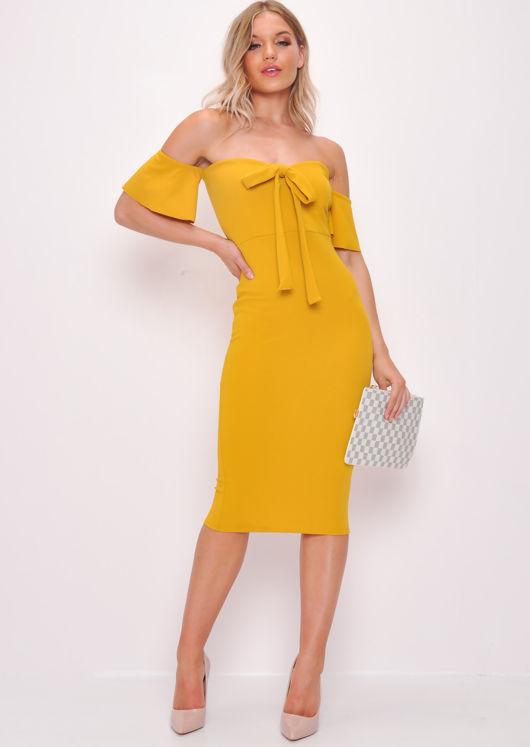 Bardot Bow Detail Midi Dress Mustard Yellow
