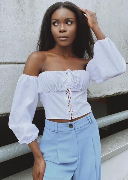 Bardot Cupped Structured Crop Top White