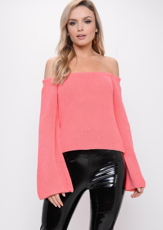 Bardot Flare Sleeve Knitted Jumper Pink