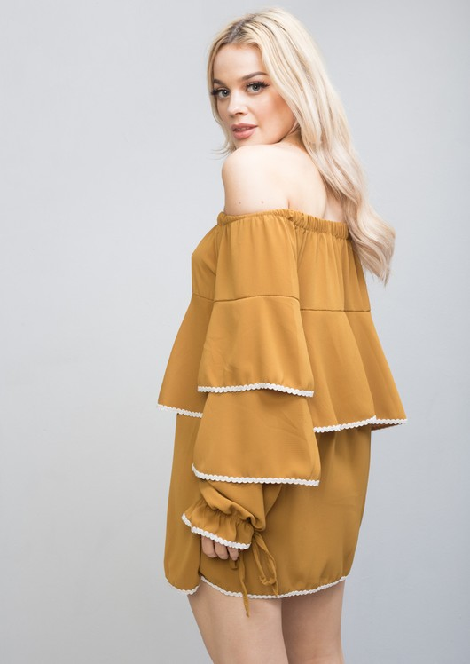 Bardot Frill Embroidered Long Sleeve Top Dress Mustard Yellow
