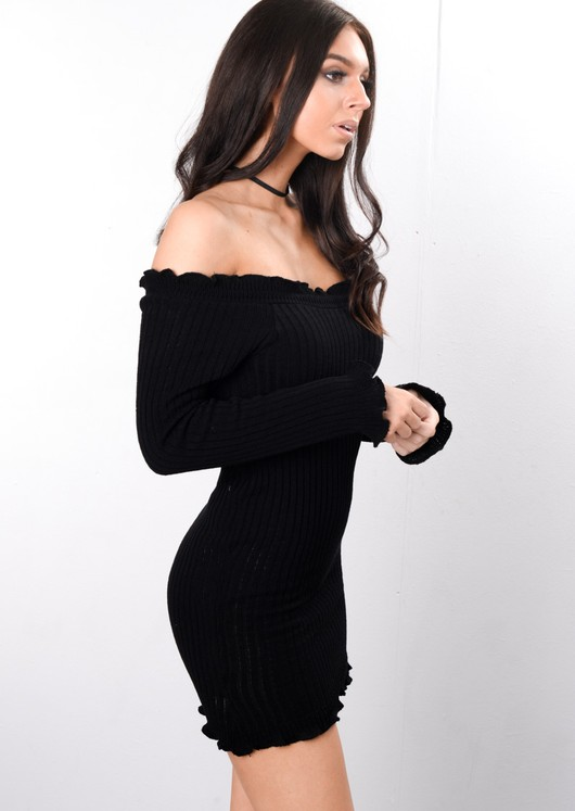 Bardot Frill Knitted Bodycon Dress Black