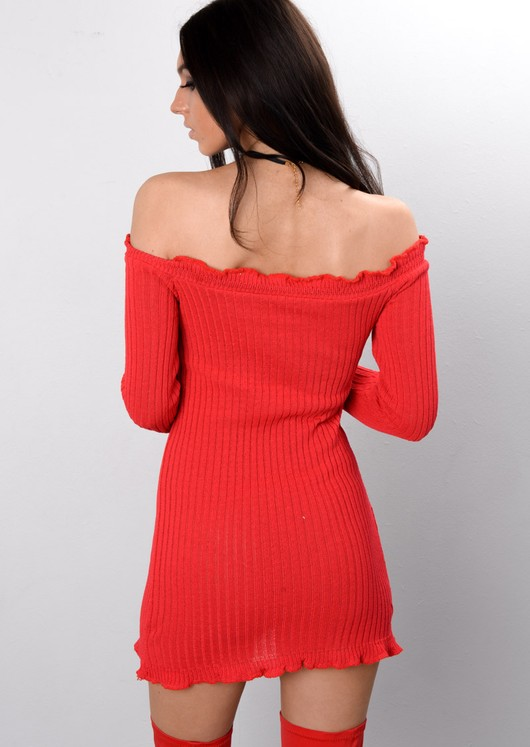 Bardot Frill Knitted Bodycon Dress Red