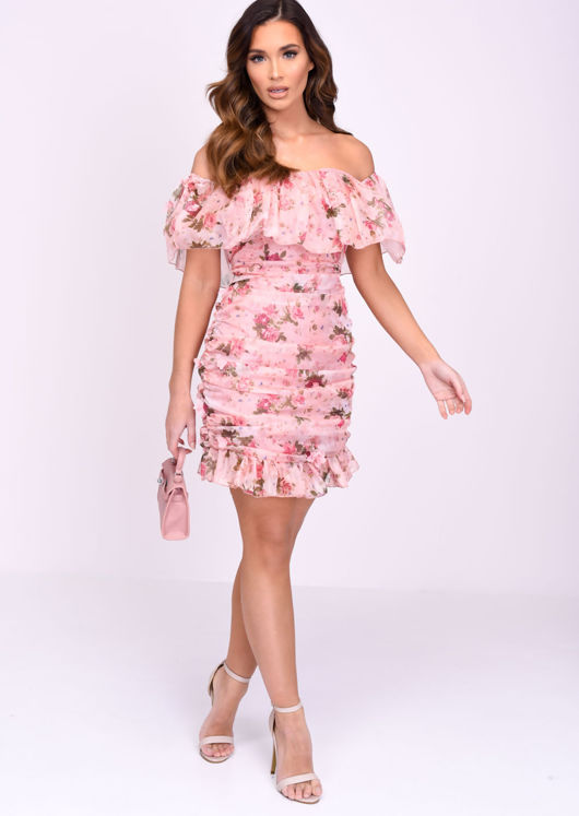 Bardot Frill Ruched Floral Mini Dress Pink
