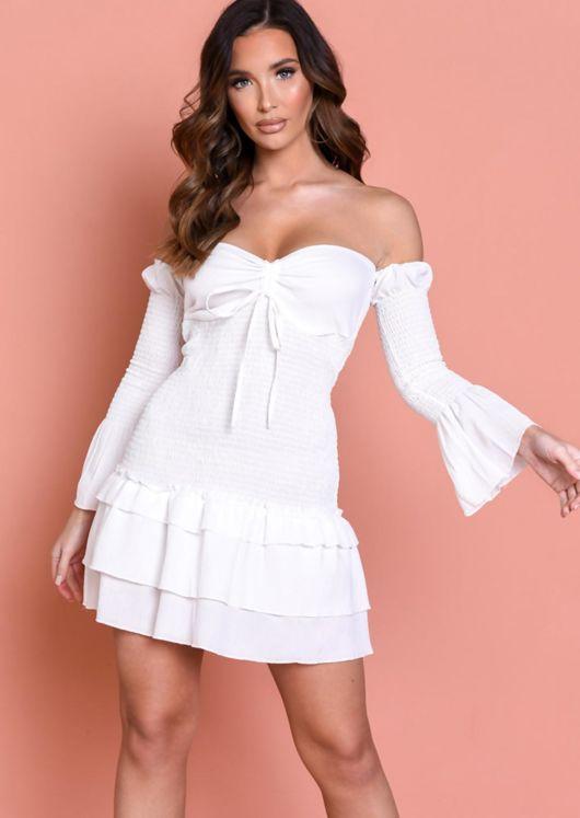 Bardot Frill Tiered Shirred Mini Dress White