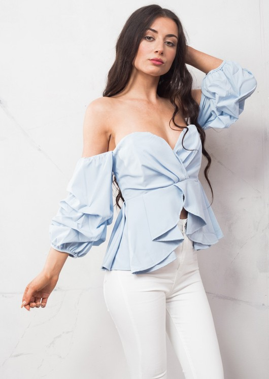 Bardot Puff Sleeve Frill Crop Top Blue