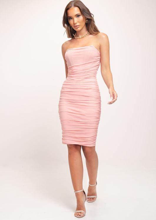 Bardot Ruched Front Boning Bustier Midi Dress Pink