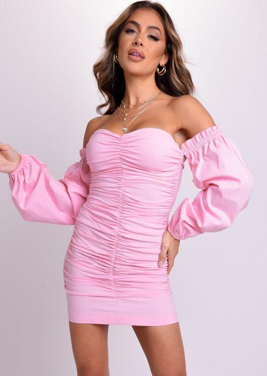 Bardot Ruched Puff Long Sleeve Mini Dress Pink