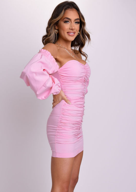 Bardot Ruched Puff Long Sleeve Mini Dress Pink