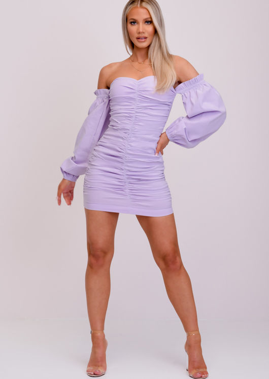 Bardot Ruched Puff Long Sleeve Mini Dress Purple