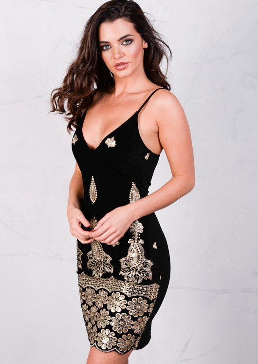 Baroque Embellished Velvet Bodycon Dress Black