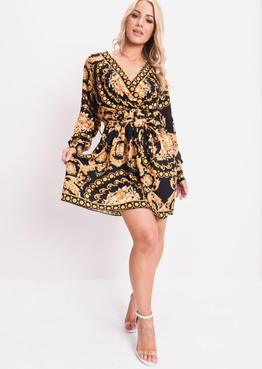 Baroque Printed Wrap Front Mini Dress Black