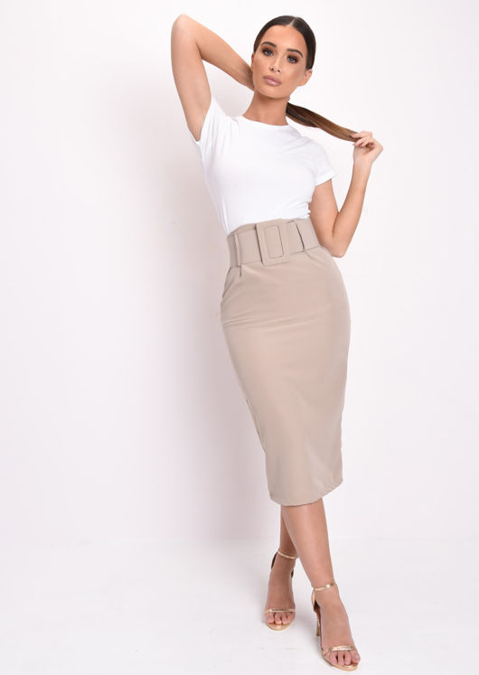 Basic High Waisted Belted Midi Skirt Beige
