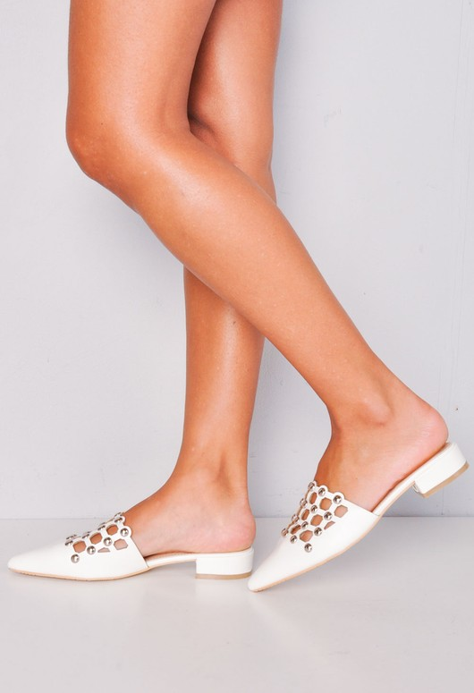 Beaded Caged Cut Out Pointed Toe Mules White