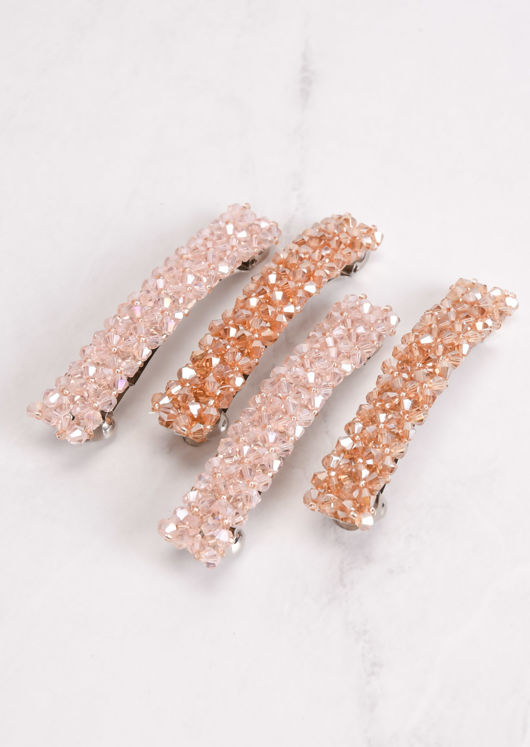 Beaded Hair Slide Pink
