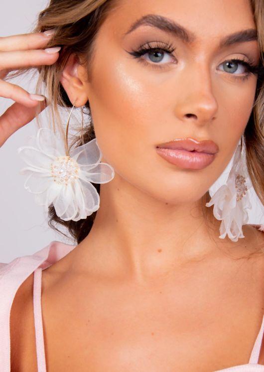 Beaded Fabric Flower Earrings White