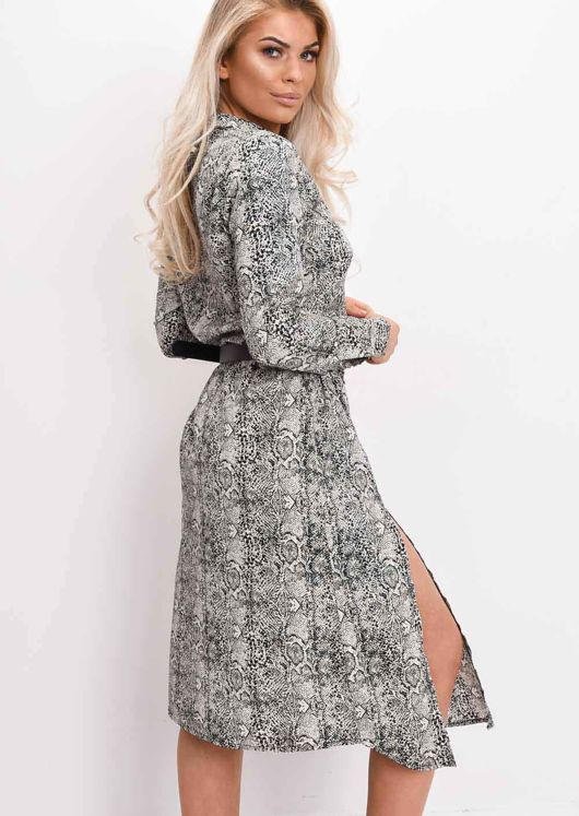 Beige Snake Print Long Sleeve Midi Dress Multi