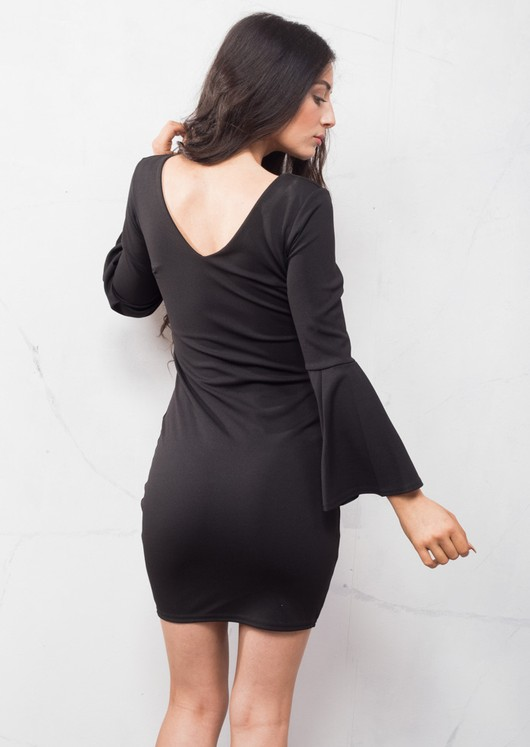Bell Sleeve Plunge Neck Bodycon Dress Black