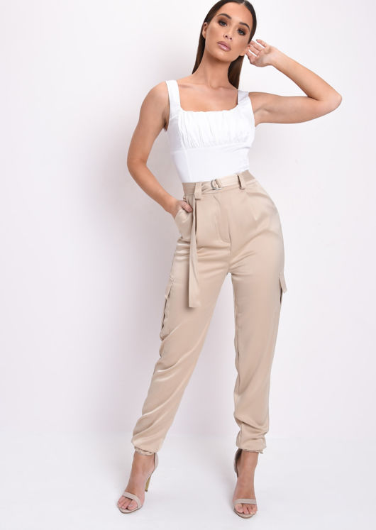 Belted Cargo Jogger Trousers Beige