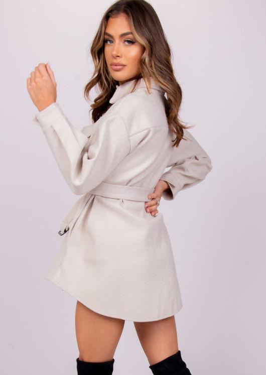 Brushed Belted Collared Pocketed Utility Shirt Dress Jacket Beige