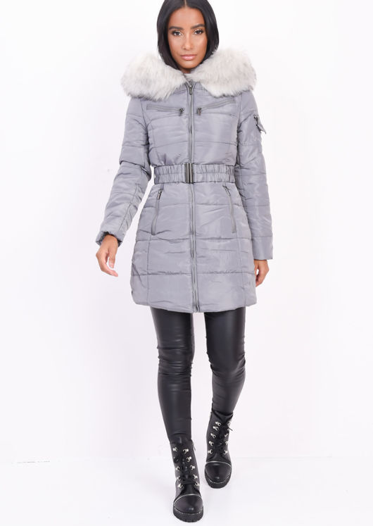 Belted  Faux Fur Hooded Longline Puffer Coat Grey