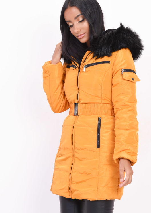 Belted Faux Fur Hooded Longline Puffer Coat Mustard Yellow