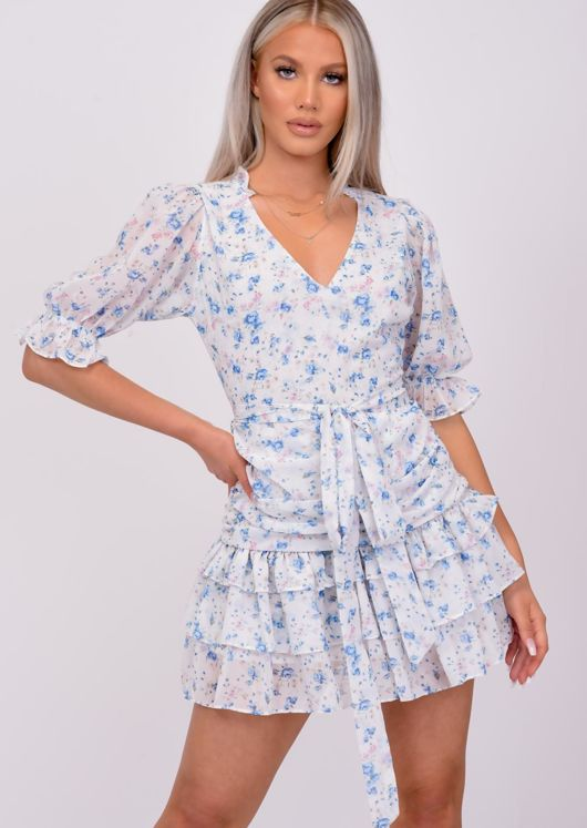 Belted Floral Ruffle Frill Tiered Mini Dress Blue