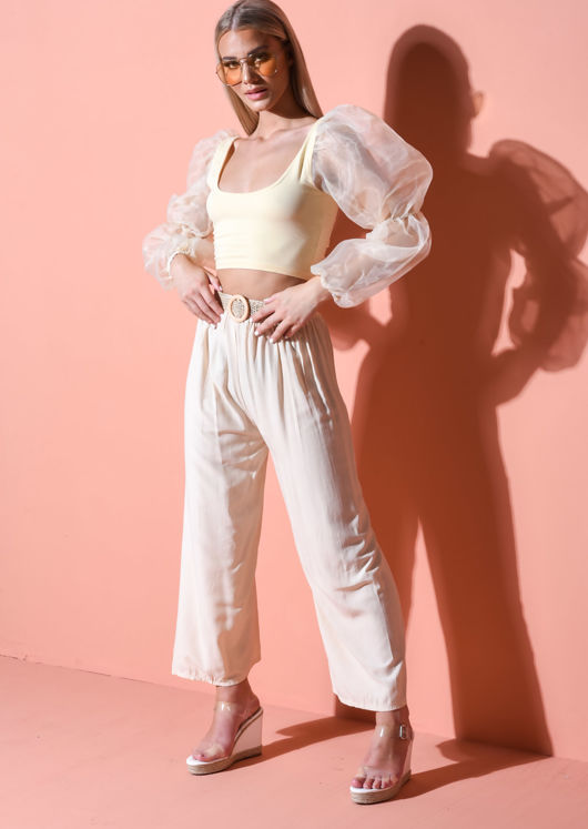 Belted High Waisted Wide Leg Trousers Beige