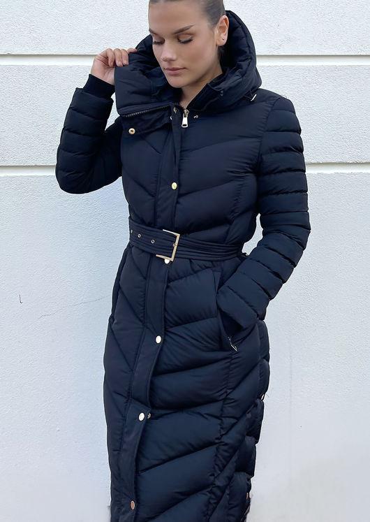 Belted Longline Side Split Hooded Panelled Puffer Coat Black