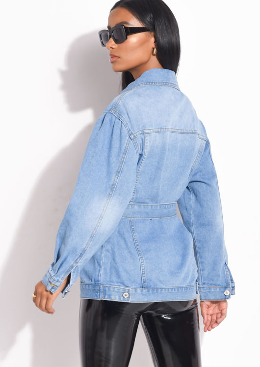 Belted Mid Wash Denim Jacket Blue