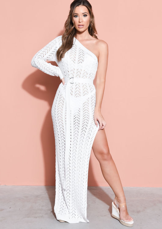 Belted One Shoulder Bodycon Knit Split Maxi Dress White