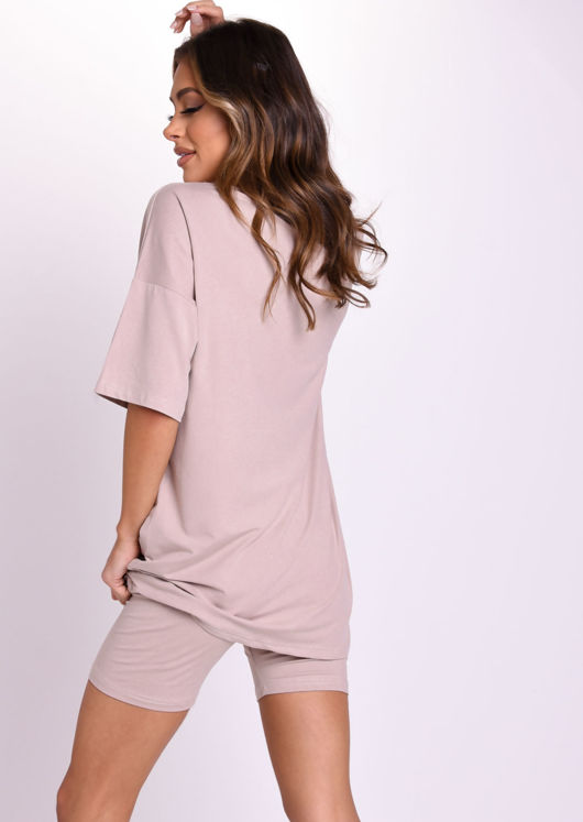 Belted Oversize T Shirt and Cycling Shorts Loungewear Set Beige