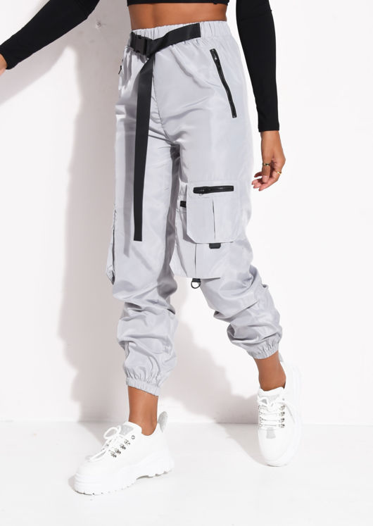Belted Reflective Utility Buckle Jogger Trousers Grey