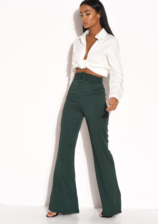 Belted Satin High Waisted Flared Trousers Green