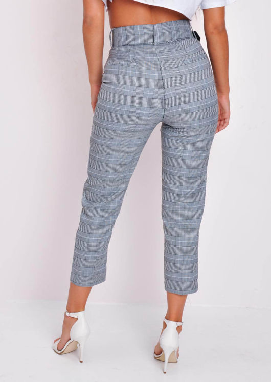 Belted Tapered White Houndstooth Check Trousers Black
