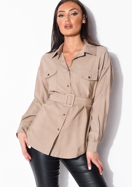 Belted Utility Long Sleeve Shirt Beige
