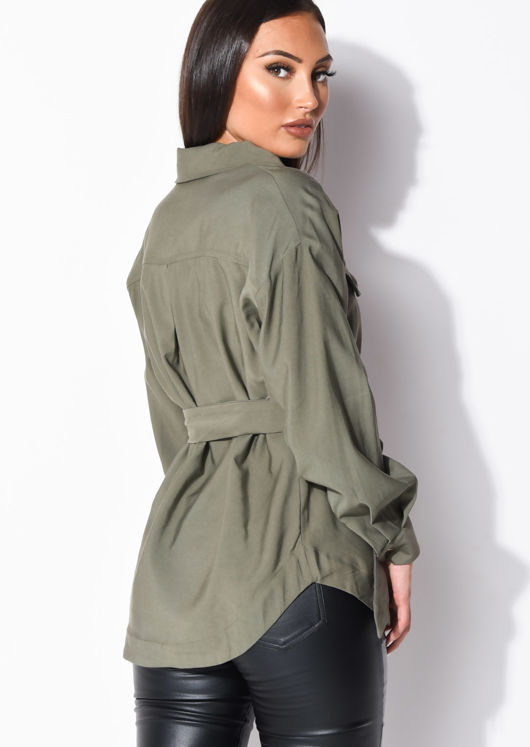 Belted Utility Long Sleeve Shirt Khaki Green